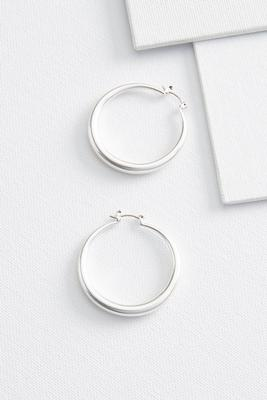 brushed tube hoop earrings