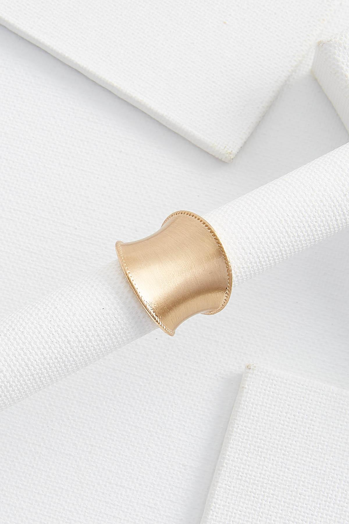 Wide Brushed Gold Statement Ring