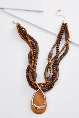 bold beaded wood necklace