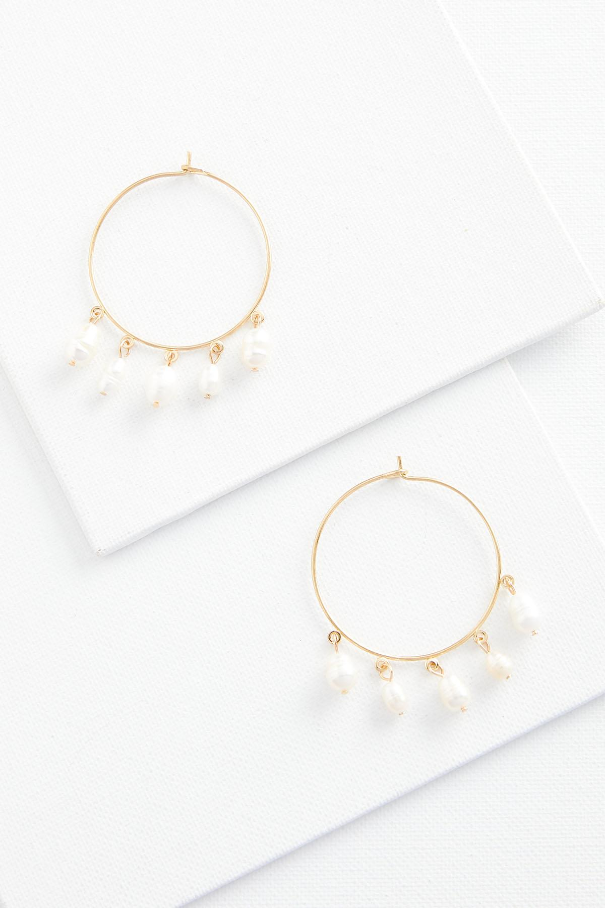 Shaky Pearl Hoop Earrings
