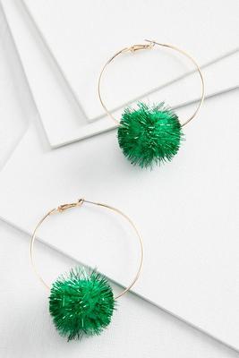 metallic pom earrings