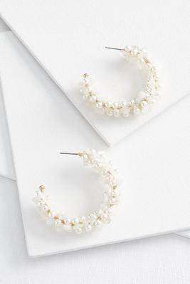 pearly white hoop earrings