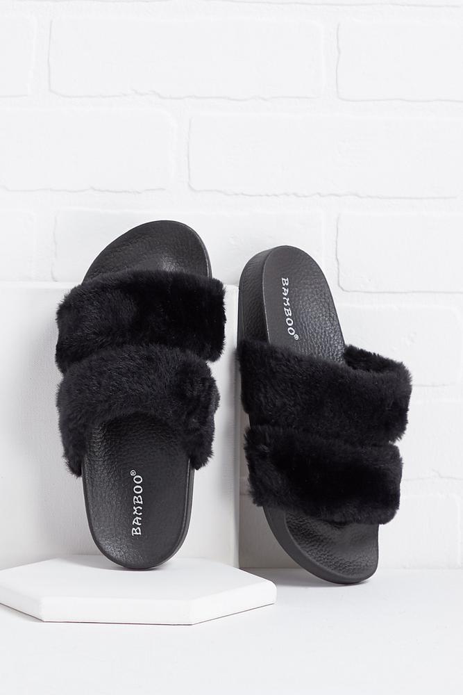 Fur Banded Slides
