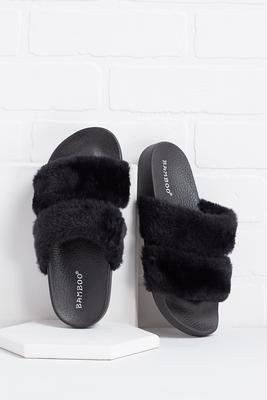 fur banded slides