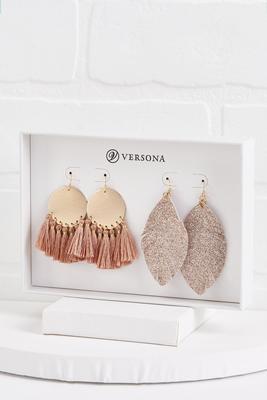 pink fringe earring gift set