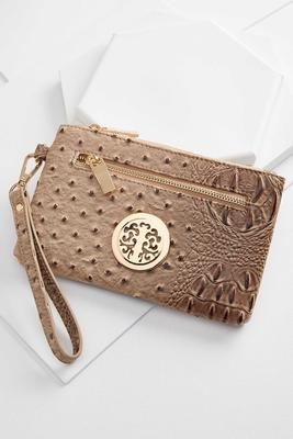 textured faux leather wristlet