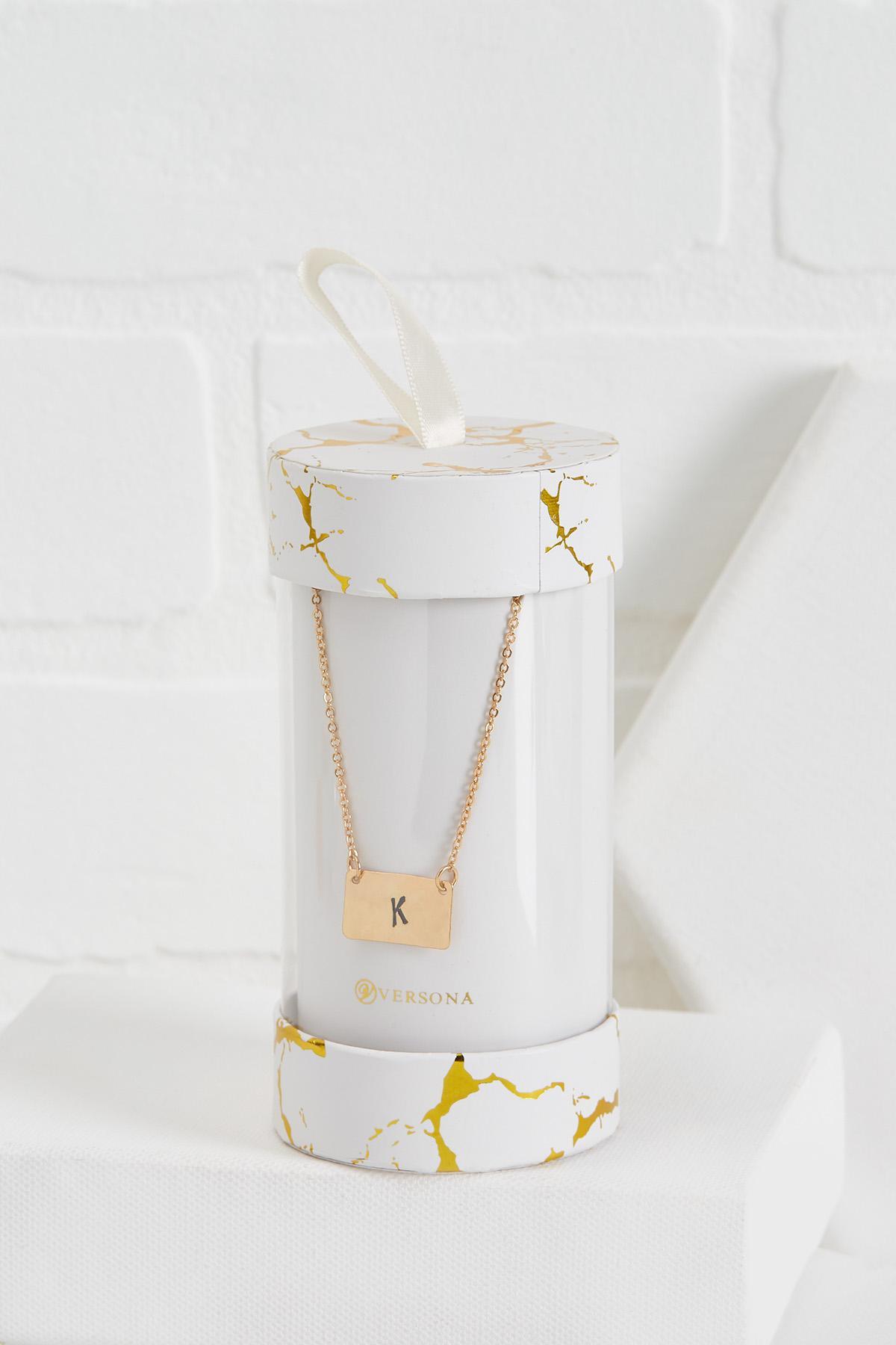 K Initial Pendant Necklace