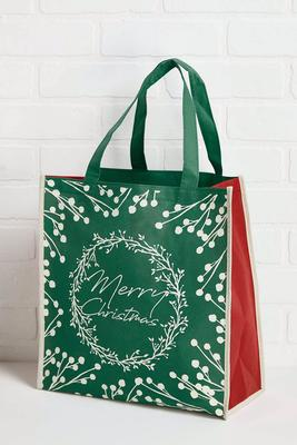 merry christmas reusable tote bag