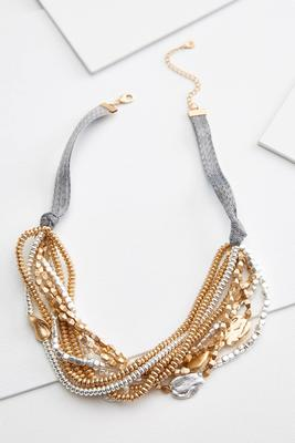 beaded metal bib necklace