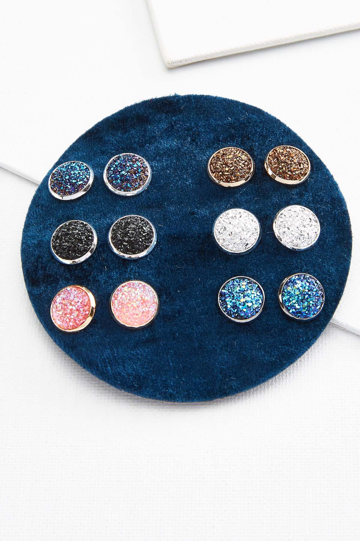 Colorful Druzy Stud Set