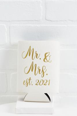 mr and mrs wine bottle koozie