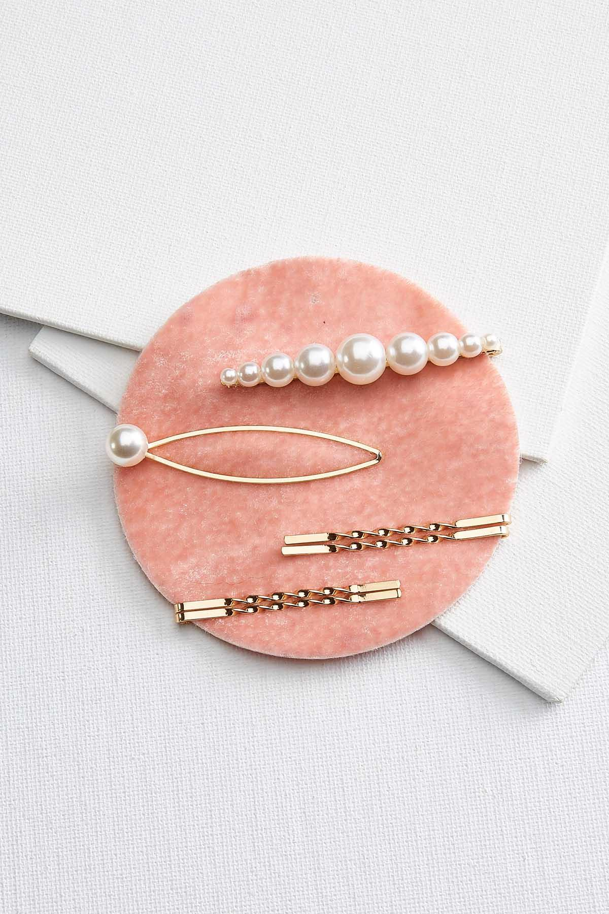 Pearl And Gold Barrette Set