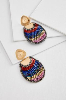 beaded colorblock earrings