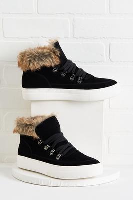 fur cuffed sneaker