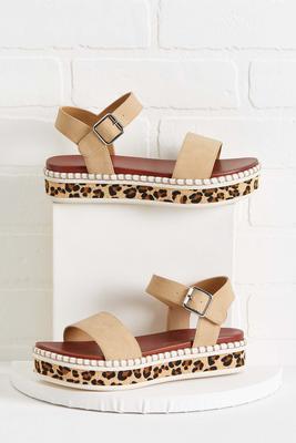 leopard base flatform sandals