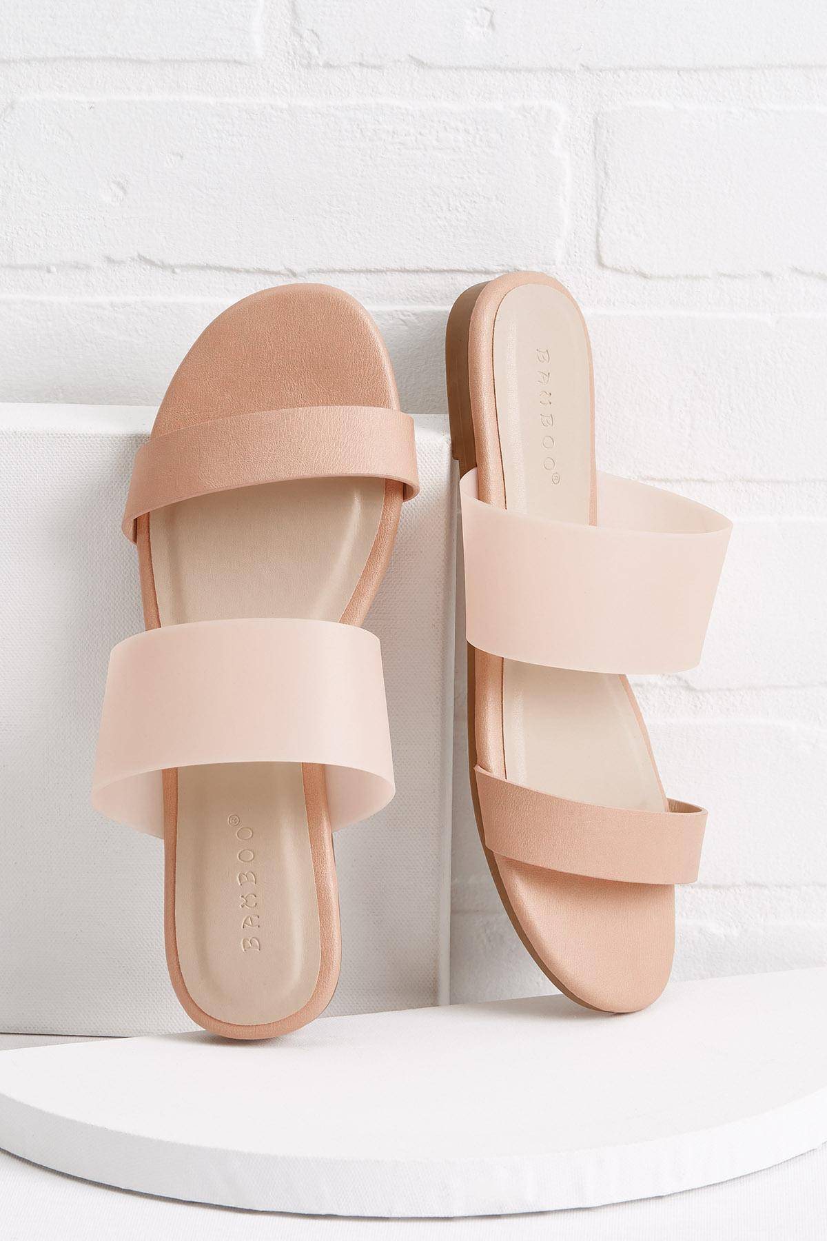 Lucite Wide Band Sandals