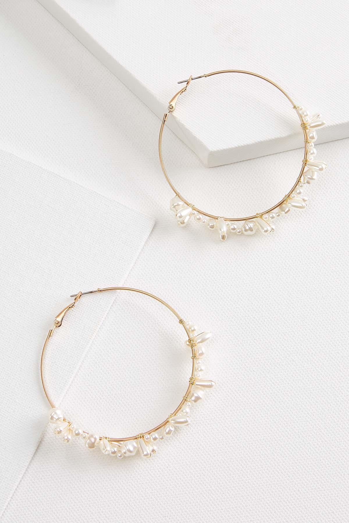 Clustered Pearl Hoop Earrings