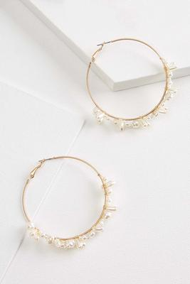 clustered pearl hoop earrings
