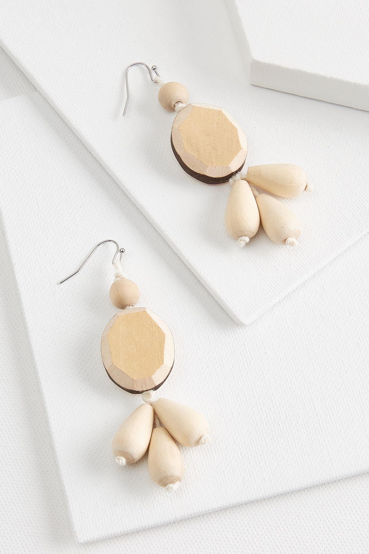 Wooden Cluster Earrings
