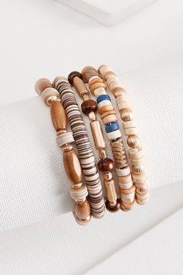 wooden stretch bracelet set