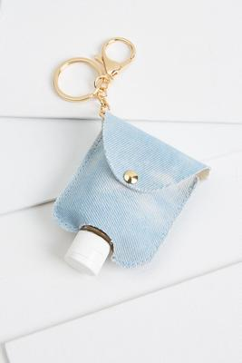 denim sanitizer keychain