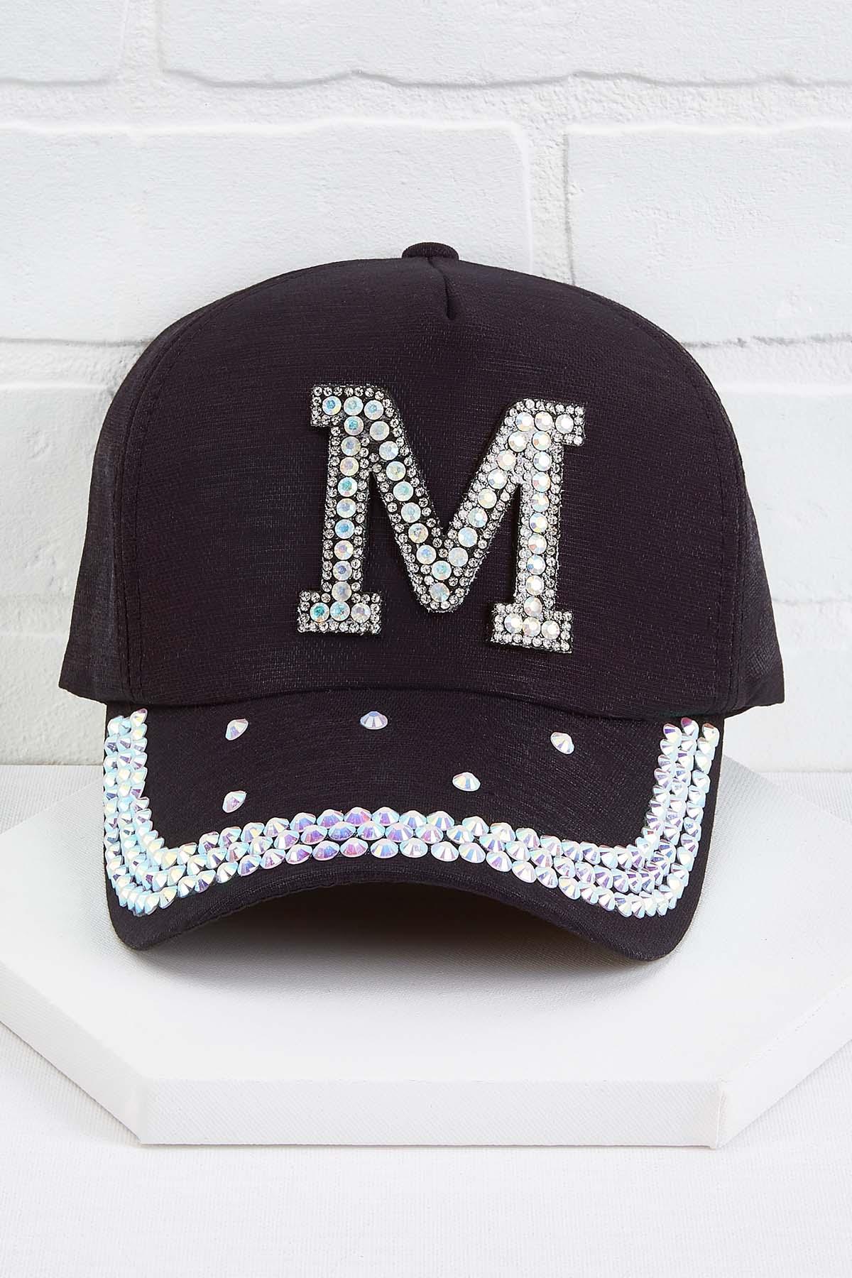 M Initial Bling Baseball Cap