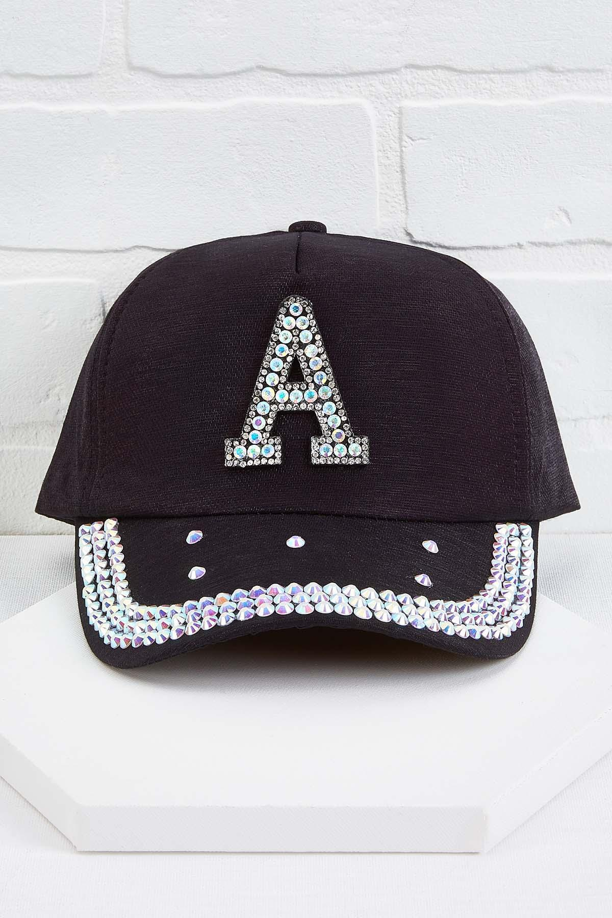 A Initial Bling Baseball Cap