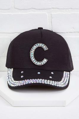 c initial bling baseball cap