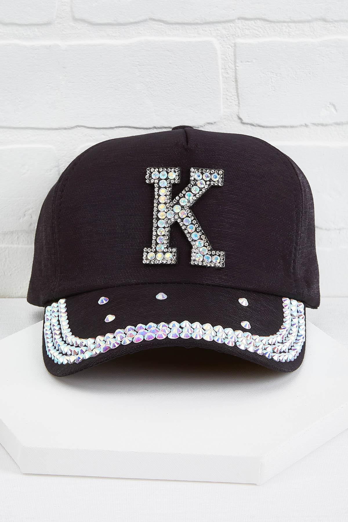K Initial Bling Baseball Cap