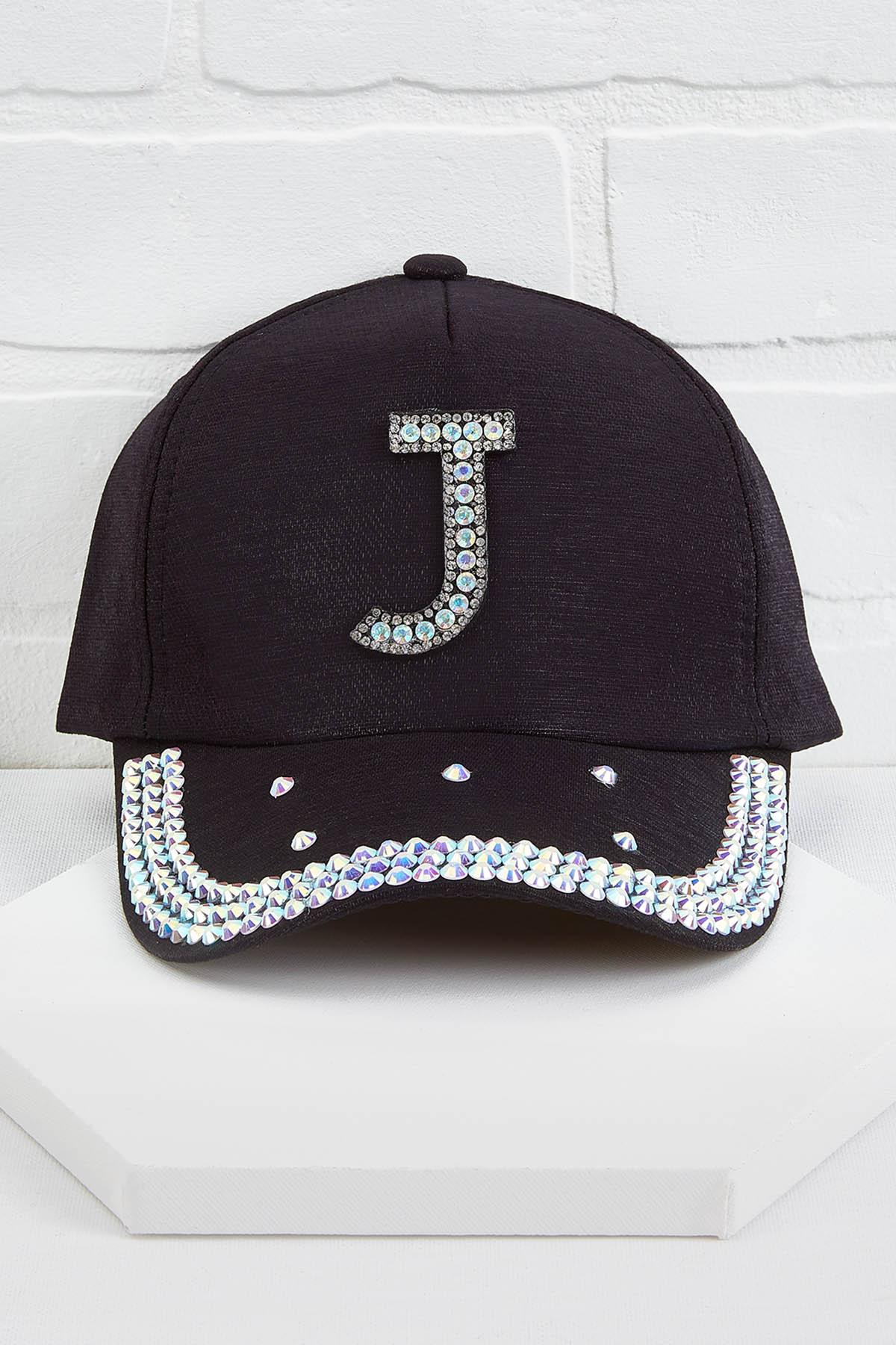 J Initial Bling Baseball Cap
