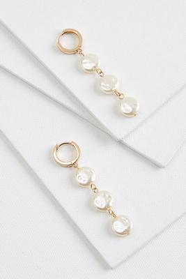 linear natural pearl earrings