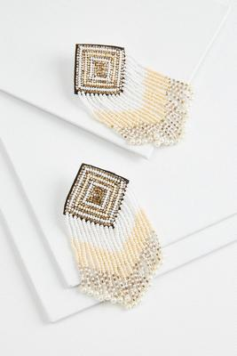 beaded fringe earrings