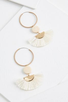fringed fan hoop earrings