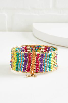 rainbow beaded cuff bracelet
