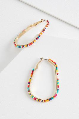 beaded oval hoop earrings
