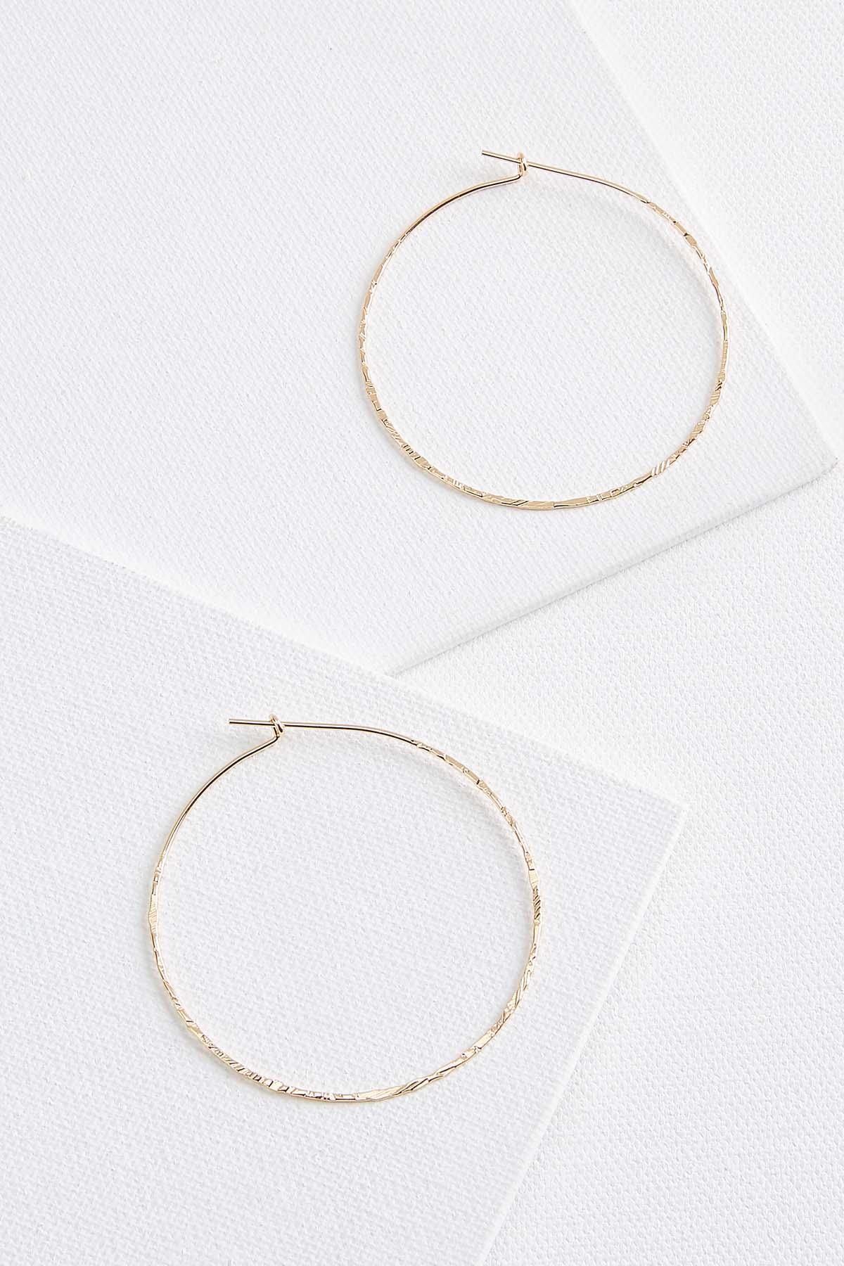 Thin Textured Hoop Earrings