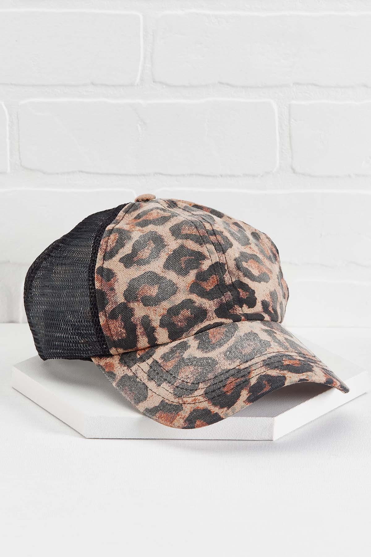 Leopard Print Ponytail Hat