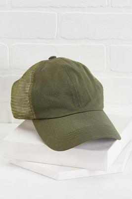 olive ponytail hat