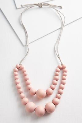 washed wood layered necklace