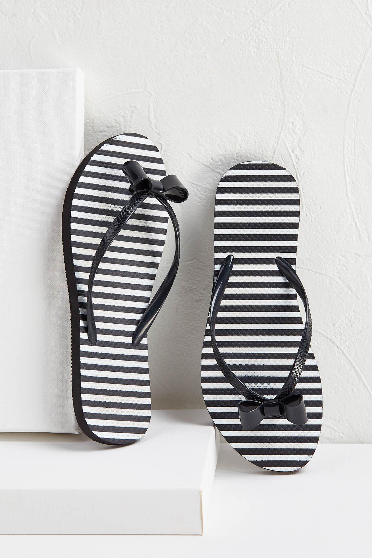 Stripe Bow Flip- Flops