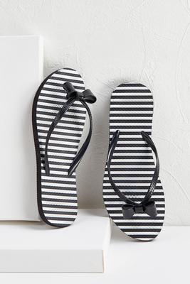 stripe bow flip-flops