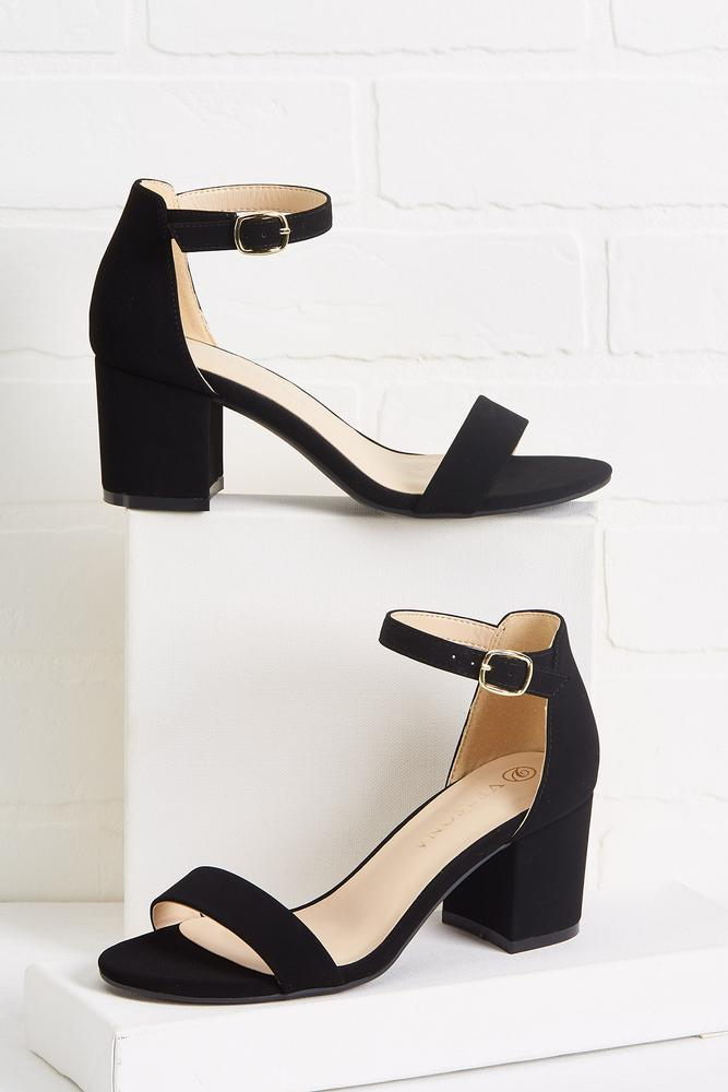 Strapped Low Block Heels