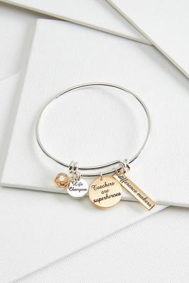 teacher charm bangle bracelet