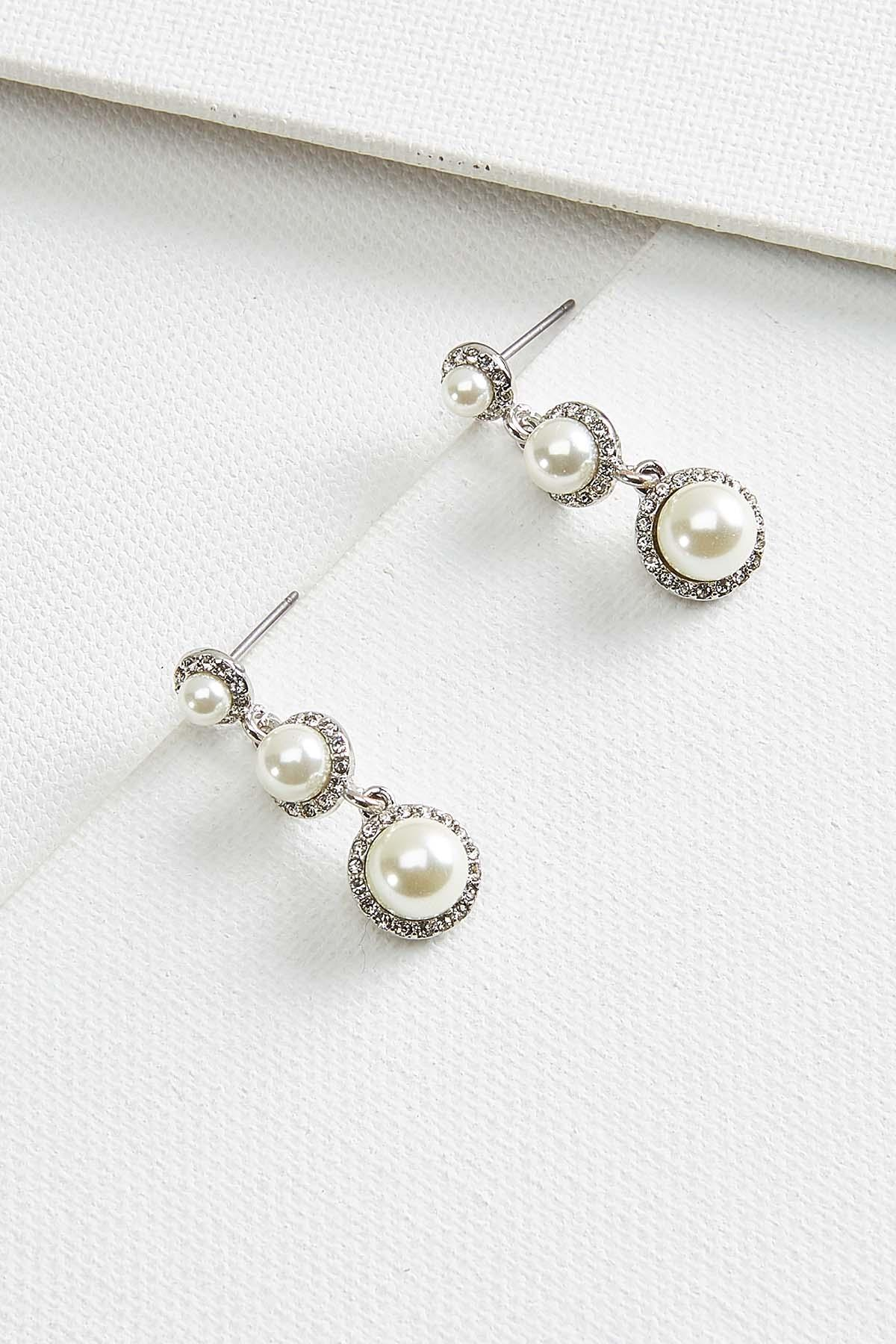 Pave And Pearl Earrings