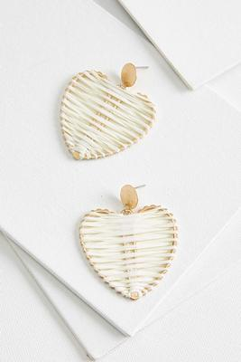 raffia heart earrings