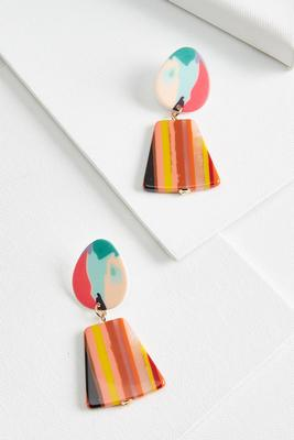 multi stripe lucite earrings