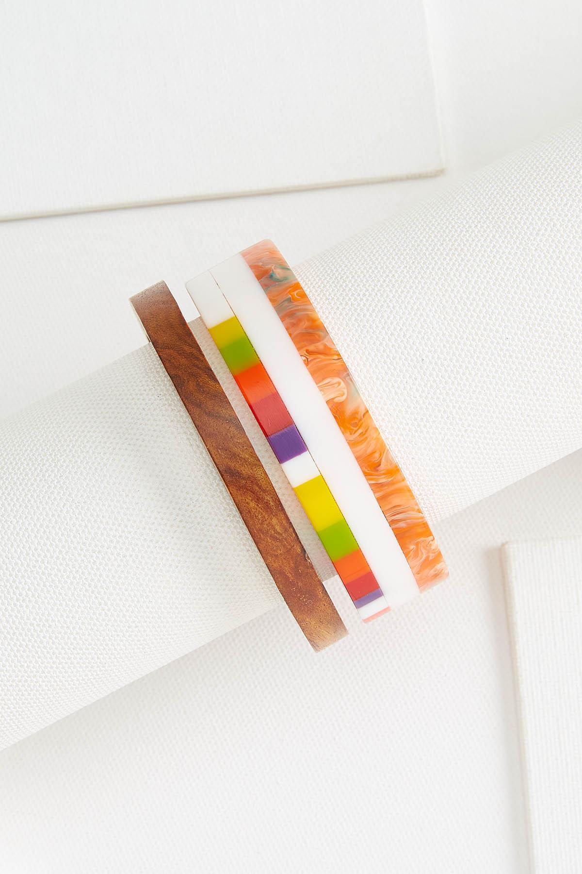 Colored Wooden Bangle Set