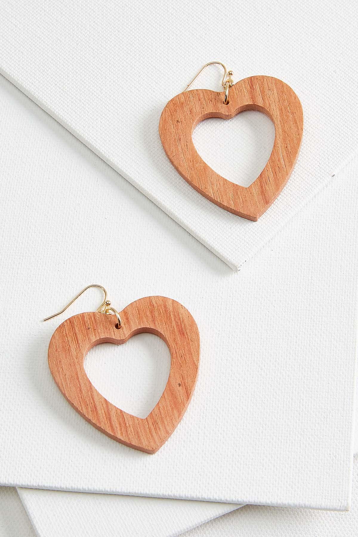 Retro Wooden Heart Earrings