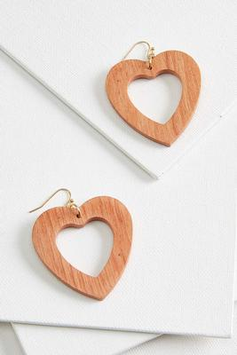 retro wooden heart earrings