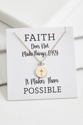 cutout cross disc necklace